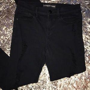 Express distressed skinny black jeans